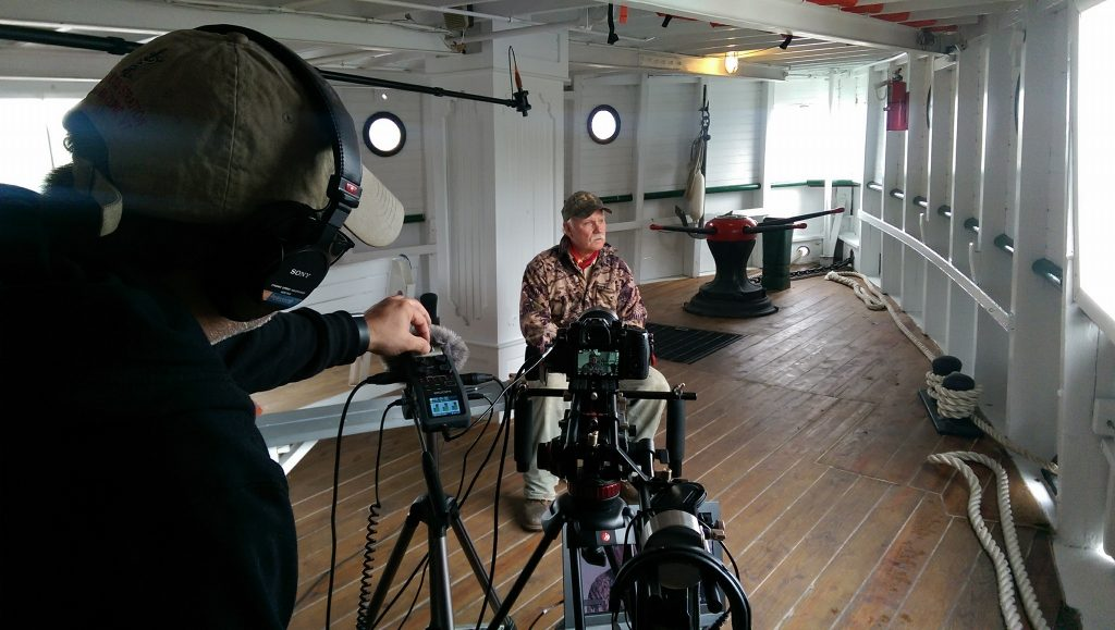 Rocky Rockwell during oral history interview shoot aboard the Katahdin. Jimmy Dimantopoulos sound engineer on left.
